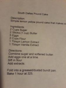 south Dallas pound cake recipe