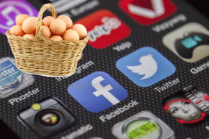 eggs in one basket over social media icons