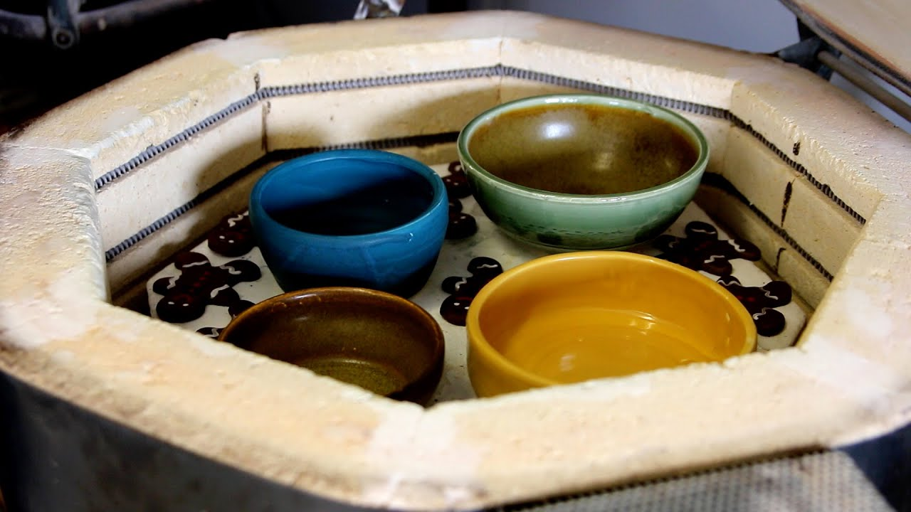 pottery in a kiln after firing